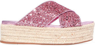 Miu Miu Glittered Leather Espadrille Platform Slides - Pink