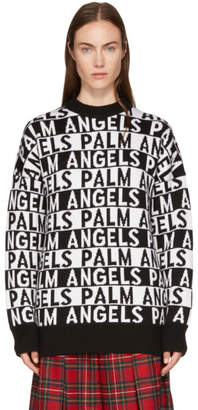 Palm Angels Black and White Logo Sweater