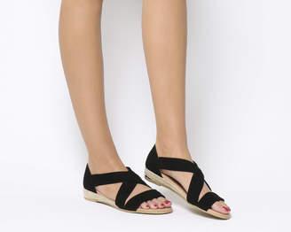 Office Hallie Cross Strap Espradrilles Black Suede With Branded Heel Clip