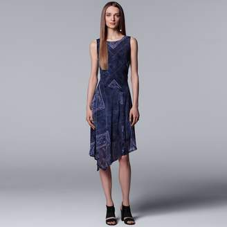 Vera Wang Women's Simply Vera Print Asymmetrical Midi Dress