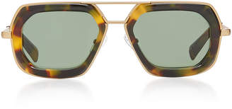 Dries Van Noten Oversized Acetate Aviator-Style Sunglasses