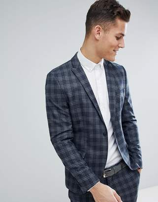 Selected Skinny Suit Jacket In Navy Check
