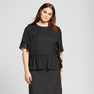 Who What Wear Women's Plus Size Fabric Mix Ruffle Top - Who What Wear $27.99 thestylecure.com