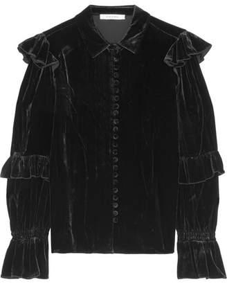 Frame Ruffled Velvet Blouse - Black