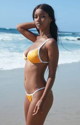 La Hearts Contrast Binding Triangle Bikini Top