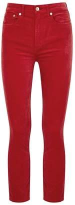Rag & Bone Red Cropped Velvet Jeans