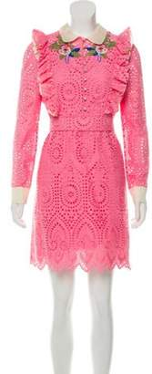 Gucci 2017 Eyelet Embroidered Mini Dress w/ Tags Pink 2017 Eyelet Embroidered Mini Dress w/ Tags