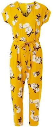 Dorothy Perkins Womens Petite Yellow Floral Print Jumpsuit