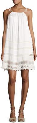 Alice + Olivia Danna Tie-Strap Short Dress, White