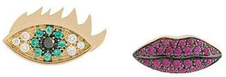 Delfina Delettrez 18kt yellow gold, diamond and ruby Anatomik eye and lips stud earrings