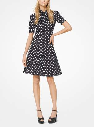 Michael Kors Coin Dot Crushed Georgette Tie-Neck Dress