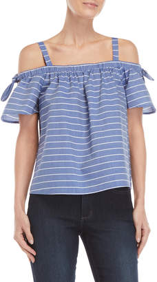 London Times Petite Striped Off-the-Shoulder Tie Top