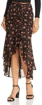 J.o.a. Ruched Drawstring Floral Print Midi Skirt