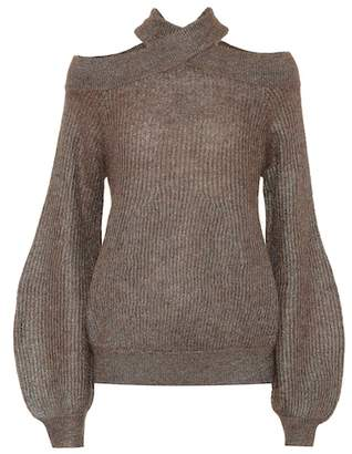 Brunello Cucinelli Ribbed cold-shoulder sweater