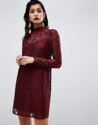 Asos DESIGN lace shift mini dress with long sleeves