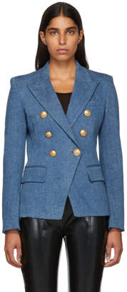Balmain Blue Denim Six-Button Blazer