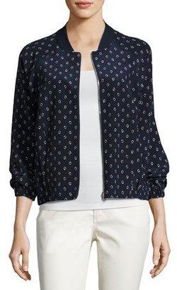 Lafayette 148 New York Dancing Dot Reversible Silk Bomber Jacket, Multi $598 thestylecure.com