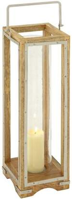 DecMode Decmode Wood and Metal and Glass Lantern, Multi Color