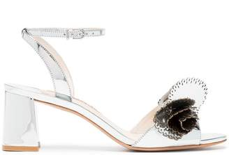 Sophia Webster silver Soleil 60 cutout ruffle leather sandals