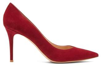 Gianvito Rossi Gianvito 85 Point Toe Suede Pumps - Womens - Burgundy