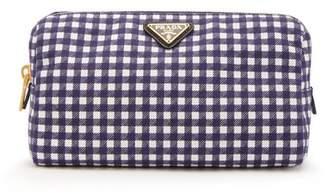 Prada - Gingham Cotton Make Up Bag - Womens - Navy