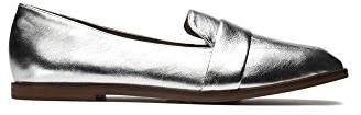 Kenneth Cole Reaction Women's Glide Slide Menswear Inspired Square Toe Metallic Leather Upper Slip-on Loafer
