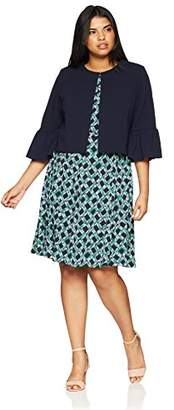 Jessica Howard Women's Plus Size Jacket Dress Set with Bell Sleeves