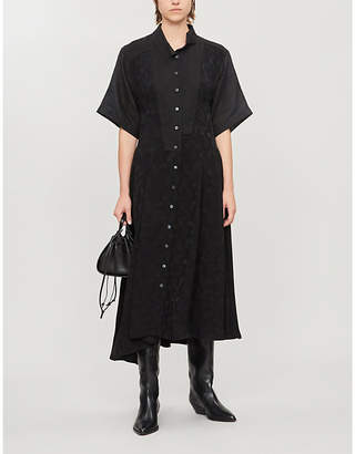 Loewe Asymmetric linen-blend jacquard midi shirt dress