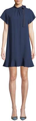 RED Valentino High-Neck Short-Sleeve Crepe de Chine Dress