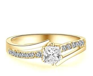 FineTresor 1.17 Carat Princess Cut Diamond Multistone Ring on 18K Yellow - Gold