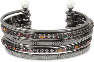 BCBGeneration BCBG Crystal & Imitation Pearl Multi-Row Cuff Bracelet