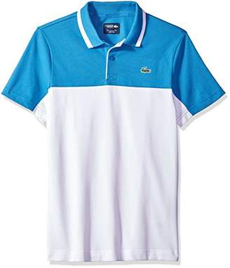 Lacoste Men's Short Sleeve Pique with Colorblock & Jacquard Collar with Contrast Polo