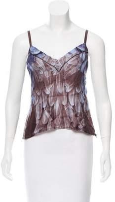 Prada Feather Print Silk Top