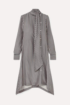 See by Chloe Asymmetric Pussy-bow Striped Crepe De Chine Midi Dress - Gray