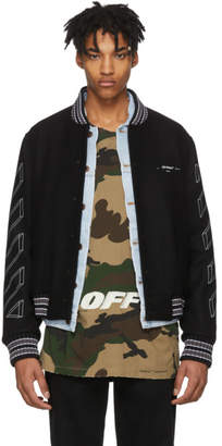 Off-White Black Diagonal 3D Line Varsity Jacket