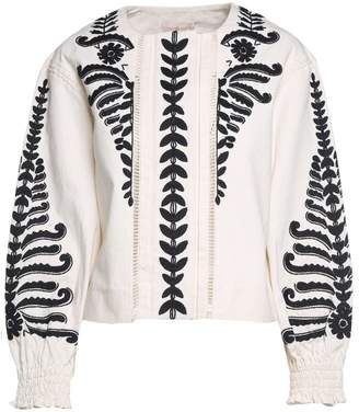 Tory Burch (トリー バーチ) - Tory Burch Embroidered Cotton-canvas Crop Jacket