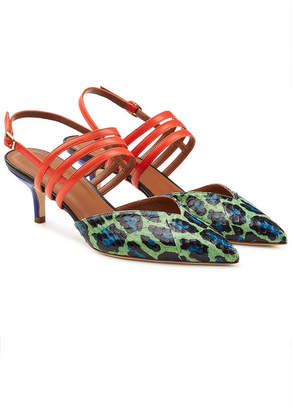 Malone Souliers Lisa Kitten Heel Sandals with Snakeskin and Leather
