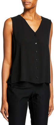 Eileen Fisher V-Neck Button-Front Sleeveless Silk Georgette Crepe Top, Plus Size