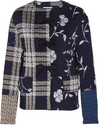 Oscar de la Renta Bow-Accented Patchwork Cotton Jacket