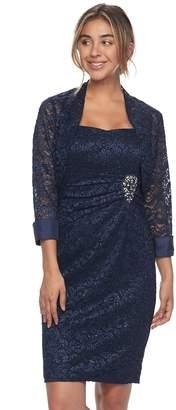 Jessica Howard Women's Lace Sheath Dress & Jacket Set