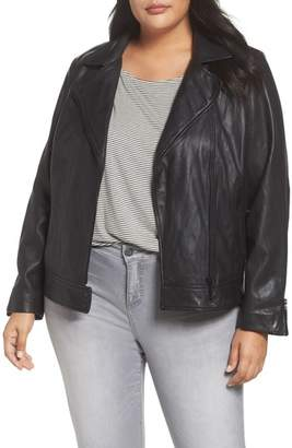 Halogen Asymmetrical Leather Jacket