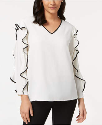 Alfani Piped Ruffle-Sleeve Top, Created for Macy's