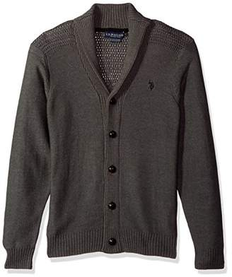U.S. Polo Assn. Men's Reverse Jersey Shawl Collar Cardigan