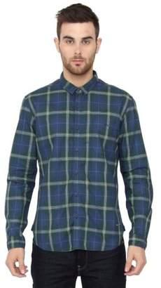 Voi Jeans New Mens Designer Slim Fit Green Blue Check Cotton Shirt VOSH1028