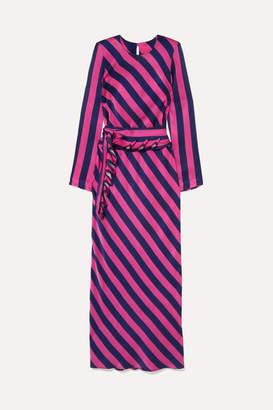 Maggie Marilyn Get 'em Girl Striped Silk-satin Maxi Dress - Fuchsia