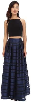 Aidan Mattox Ball Skirt w/ Illusion Panels and Stretch Halter Top Women's Dress