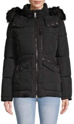 Calvin Klein Faux Fur-Trimmed Hooded Jacket