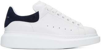 Alexander McQueen White & Navy Oversized Sneakers $575 thestylecure.com
