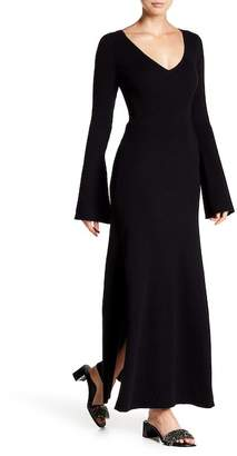 Frame Bell Sleeve Ribbed Knit Maxi Dress