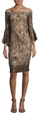 Betsy & Adam Sequin Bell Sleeve Dress